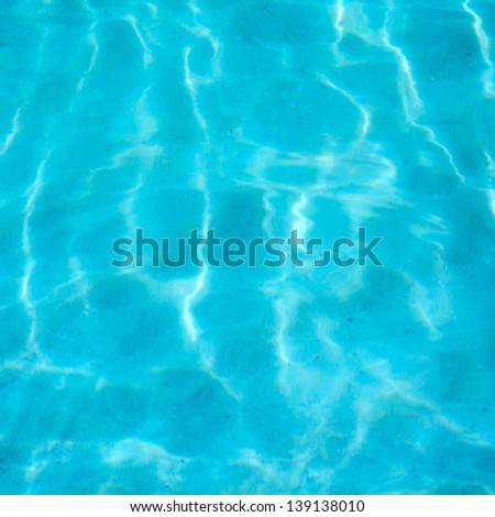blue seabed at sunny day background, soft focus - stock photo