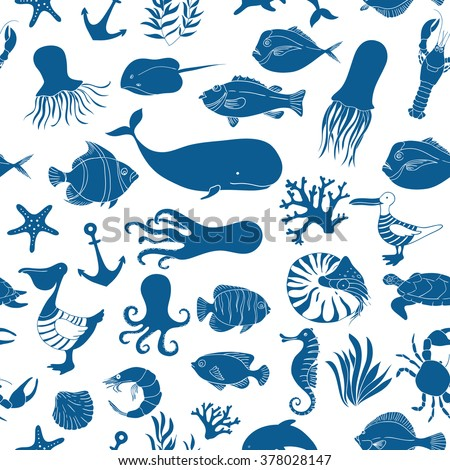 Blue seamless nautical pattern. Sea animals vector illustration. Marine background. stingray, fish, octopus, sea gull, anchor, a pelican, a whale, shrimp.