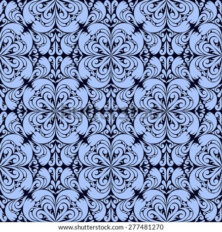 Blue seamless ornamental Wallpaper. Raster version. - stock photo