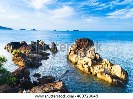 Blue Seascape Lagoon Mountains  - stock photo