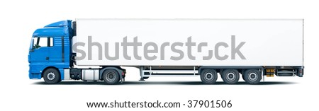 Blue semi truck pulling trailer, isolated on white.