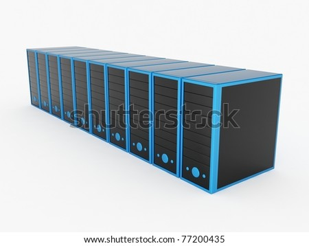 Blue Servers - stock photo