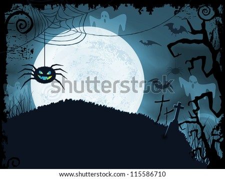 Blue shaded Halloween background with scary spider, full moon, bats, ghosts, crosses and grunge elements.