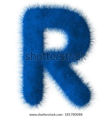 Blue shag R letter isolated on white background - stock photo