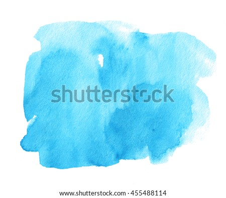 Blue shape watercolor ink dark hand drawn paper grain texture isolated stain on white background for decoration, text design, template. Abstract water color vivid sea brush paint square splash element - stock photo
