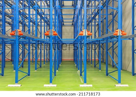 Blue shelving system in distribution warehouse
