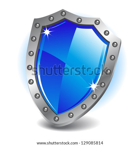 Blue shield. Raster version. Vector is also available in my gallery - stock photo