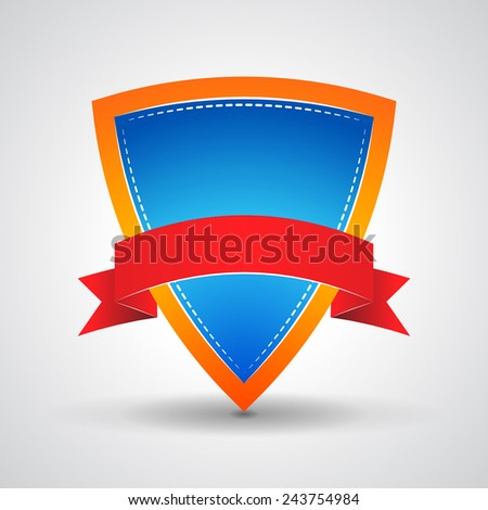 blue shield with red ribbon on a grey background - stock photo