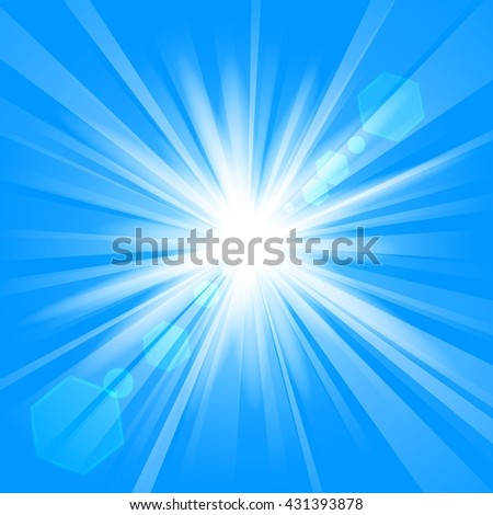 Blue shine with lens flare background