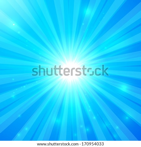 Blue shining light rays sunny background
