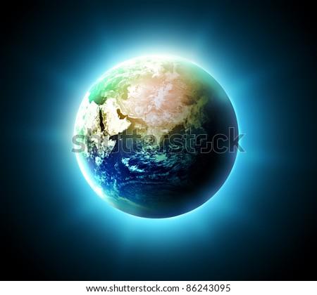 blue shining world on a dark background - stock photo