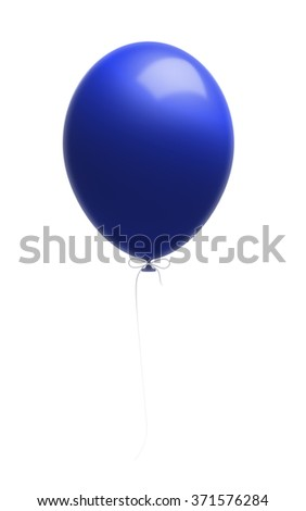 Blue shiny balloon attached to a white string. Isolated on white background. Clipping path is included. - stock photo