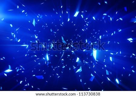 blue shiny confetti background - stock photo