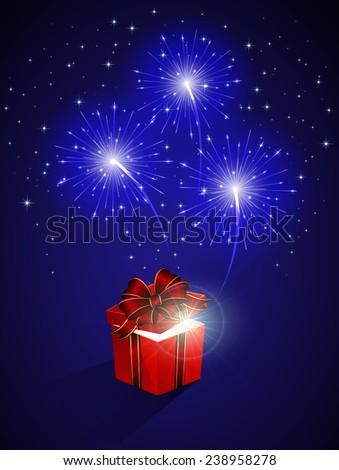 Blue shiny fireworks and gift box, illustration. - stock photo