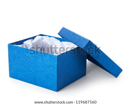 blue shiny gift box isolated on white background - stock photo