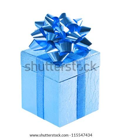 blue shiny gift box with bow on white background - stock photo