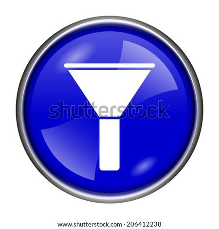 Blue shiny glossy icon on white background - stock photo