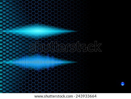 Blue shiny sound waveform on hex grid for booklet - stock photo