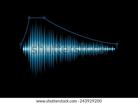 Blue shiny sound waveform with envelope curve - stock photo