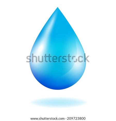 Blue shiny water drop.   - stock photo