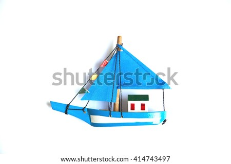 blue ship model on white background