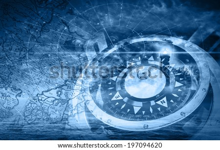 Blue ships navigation illustration with compass, lighthouse and ancient maps - stock photo