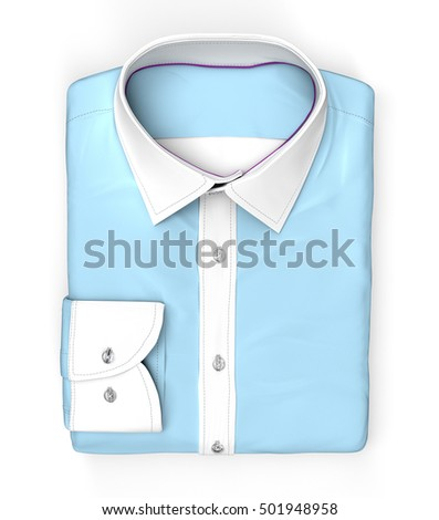 blue Shirt folded flat, isolated on white with clipping path, 3d illustration