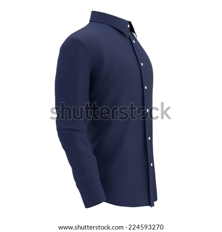 blue shirt on a white background, isolated