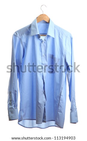 blue shirt on wooden hanger isolated on white