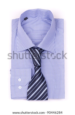 Blue shirt with a tie top view isolated