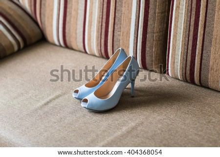 blue shoes on high heels - stock photo