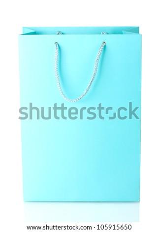 blue shopping bag isolated on white - stock photo