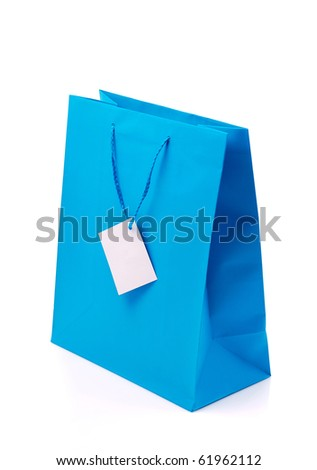 Blue shopping bag on isolated white background