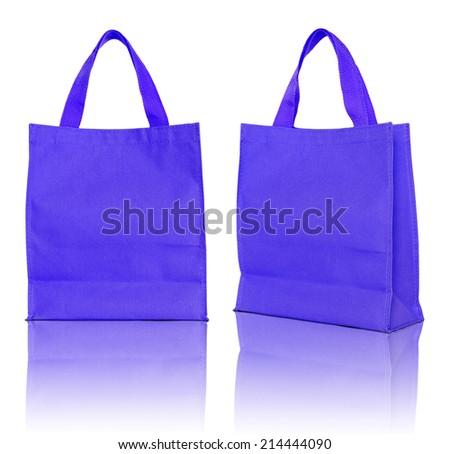 blue shopping bag on white background  - stock photo
