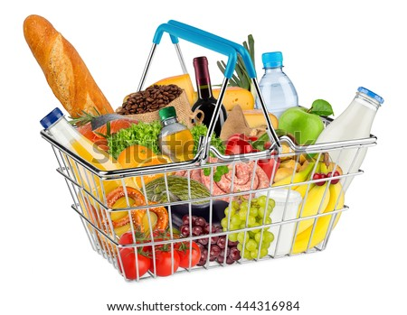 blue shopping basket filled with various food and beverages isolated on white background - stock photo