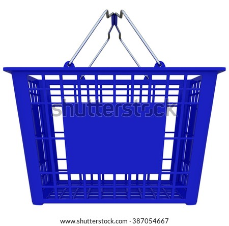 Blue Shopping Basket Isolated Over White Background - Copy Space