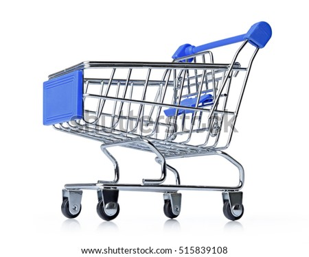 Blue shopping cart isolated on white background. File contains a path to isolation.