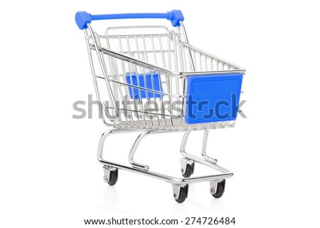Blue shopping cart isolated on white, clipping path included - stock photo
