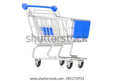 Blue shopping cart isolated on white, clipping path included