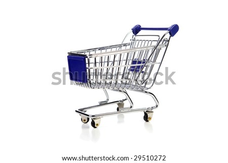 blue shopping cart over white background