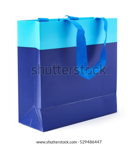 Blue shopping or gift bag isolated over the white background