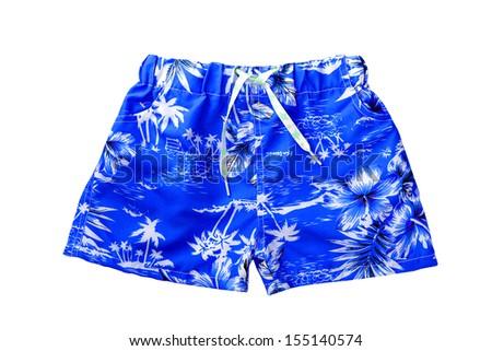blue shorts isolated on white background  - stock photo