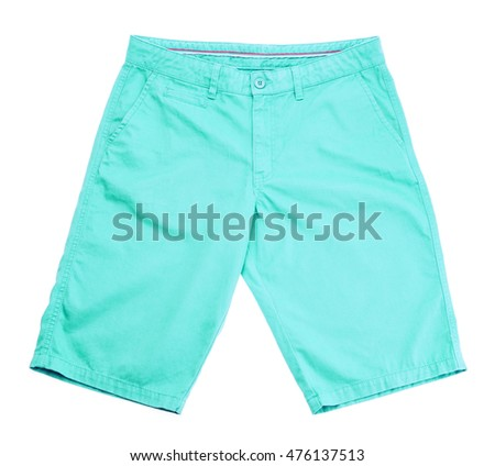 blue shorts on white background.