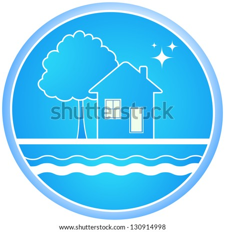 blue  sign of clean environment with house and tree - stock photo