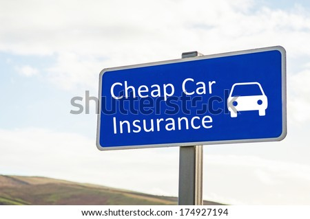 "Blue sign with ""Cheap car insurance"" text and car symbol - stock photo"