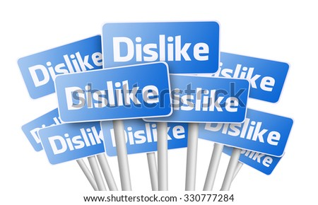Blue signs with Dislike text word on white - stock photo