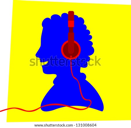 Blue silhouette of a smiling young person and wearing a red colored headphone, in front of a yellow frame, apparently listens to music.