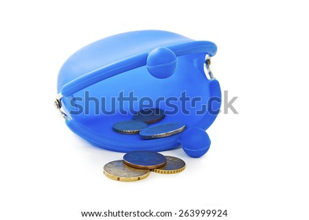 Blue silicone purse with some euros coins. Isolated on white background - stock photo