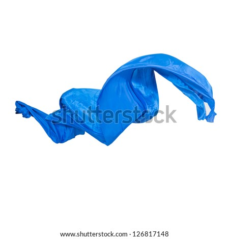 Blue silk across the color on a white background
