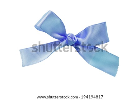 Blue silk bow on white background